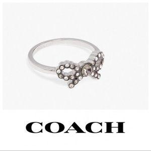 Coach Sparkling Crystal Silver Bow Ring  gc7